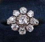 Stunning edwardian 18ct 18k white gold 1.64ct diamond daisy cluster vintage antique ring